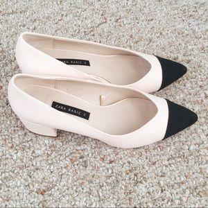 NWOT ZARA Black & Cream Block Heels